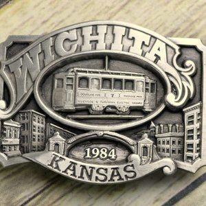 Wichita Kansas Belt Buckle 1984 Siskiyou Tram